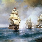 The Brig Mercury, after Her Victory Over Two Turkish Ships, Meets a Russian Squadron. Ivan Konstantinovich AIVAZOVSKY