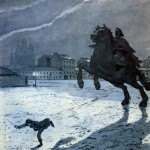 "Frontispiece for A. S. Pushkin's poem ""The Bronze Horseman"". Alexander Nikolayevich BENOIS"