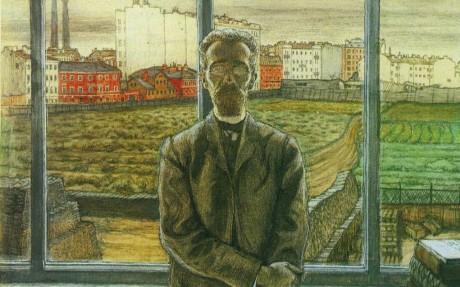 A Man in Spectacles. Mstislav Valerianovich DOBUZHINSKY