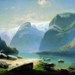 Lake in the mountains of Switzerland. Alexei Savrasov
