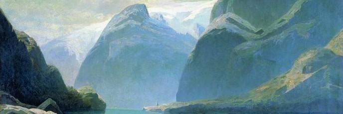 Lake in the mountains of Switzerland. Alexei Savrasov