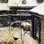 Winter. A Yard. Alexei Kondratievich SAVRASOV