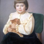 Violet with the cat. Alexandr SHILOV