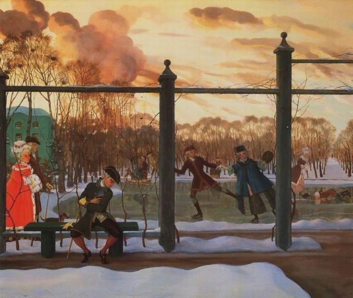 Winter. Skating. Konstantin Andreyevich SOMOV