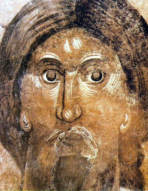 The Pantocrator (Christ the Almighty), fresco in the Church of Our Savior, Ilyin Street, Novgorod. Theophanes the GREEK